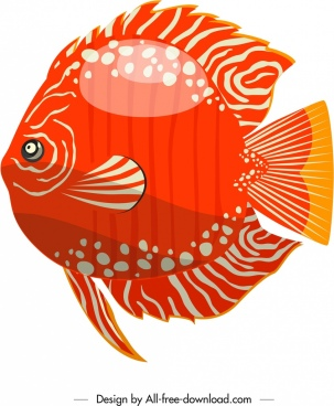 discus fish icon red flat design