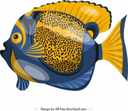 discus fish icon shiny colorful flat design