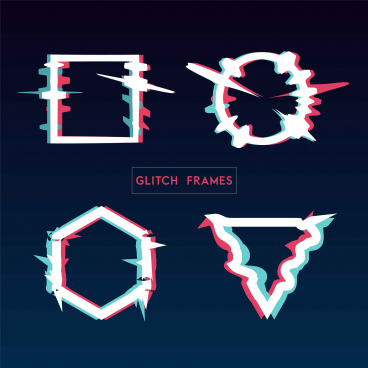 distorted glitch style modern frame set design used for banner poster flyer brochure card vector illustration