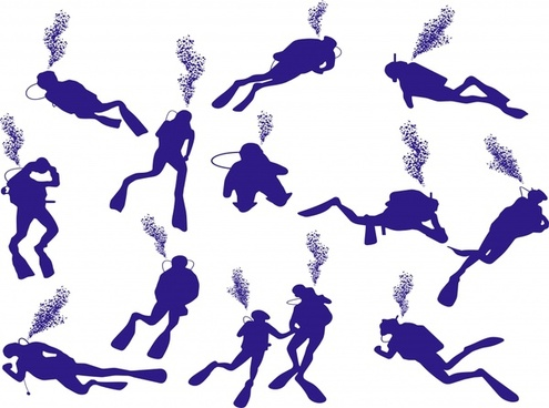 diver icons collection silhouette outline