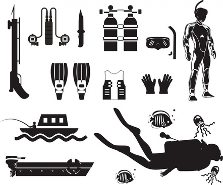 diving icons sets with silhouettes design