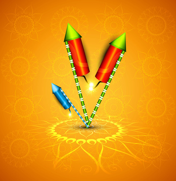 diwali crackers hindu festival bright colorful vector design