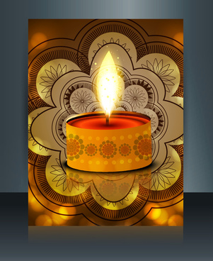 diwali with beautiful lamps on artistic brochure template design vector