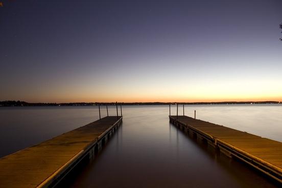 docks at dusk at lake kegonsa state park wisconsin