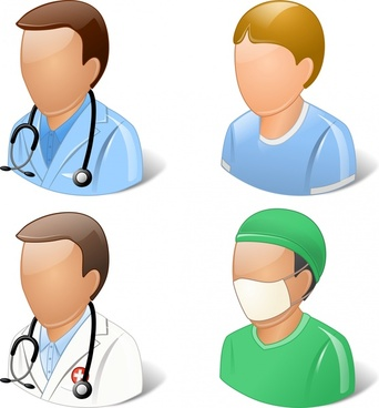 doctor and patient user icons