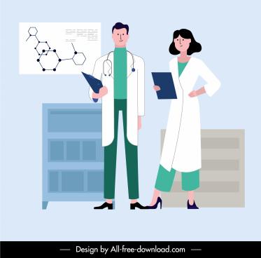 doctor career background cartoon sketch uniformed people