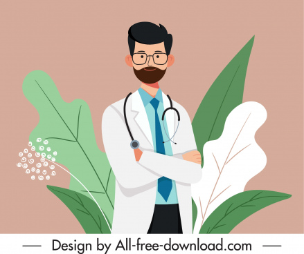 doctor career painting man sketch colored cartoon design