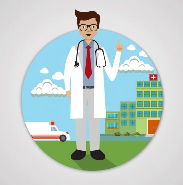 doctor icon hospital background colored cartoon design