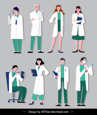doctor icons cartoon characters sketch