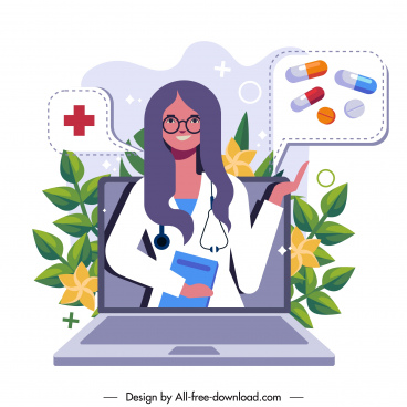 doctor job background laptop woman drugs sketch