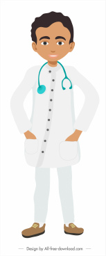 doctor job icon colored cartoon character sketch