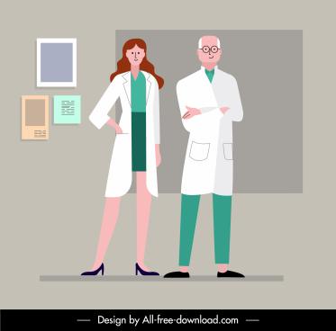 doctor job painting man woman sketch flat cartoon
