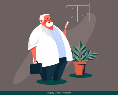 doctor painting fat man icon cartoon sketch