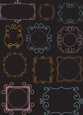 document border templates classical symmetric curves decor