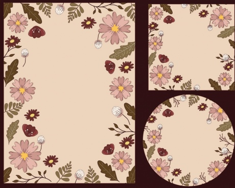 document borders template classical flowers decoration