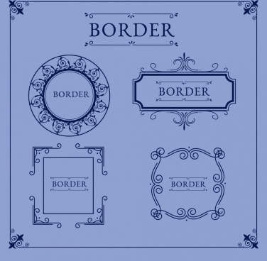 document borders templates retro design symmetrical ornament