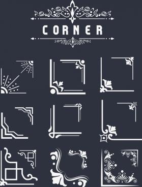 document corner design elements classical flat design