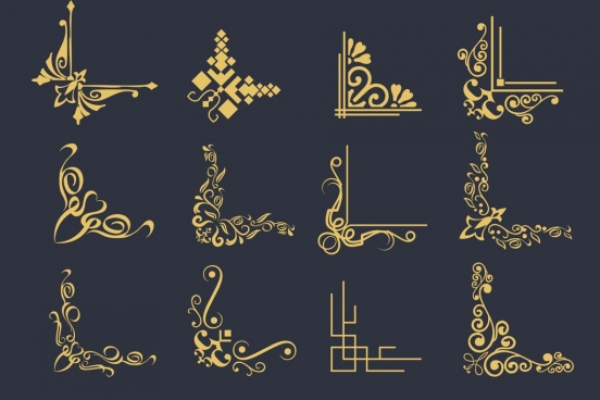 document corners collection classical flat design