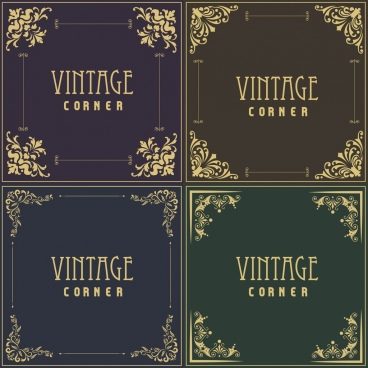 document corners collection various flat symmetric decor