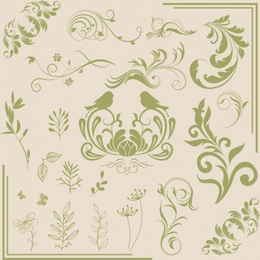 document decor design elements classical flower bird pattern