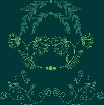 document decor design elements green leaves handdrawn sketch