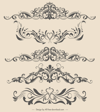 document decor elements curves shapes elegant symmetric design