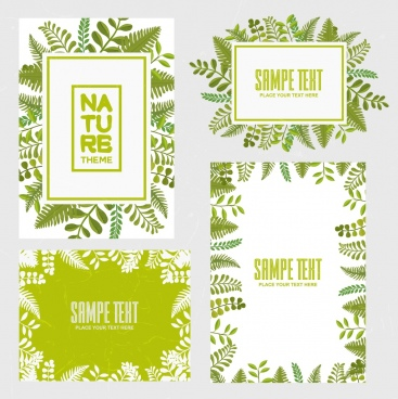 document decoration design elements green leaves retro style
