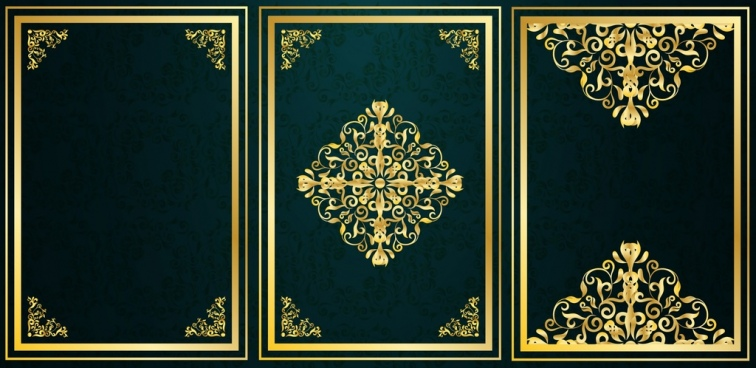document decoration design elements yellow luxury symmetric decor