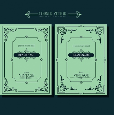 document decoration templates classical corner design dark green