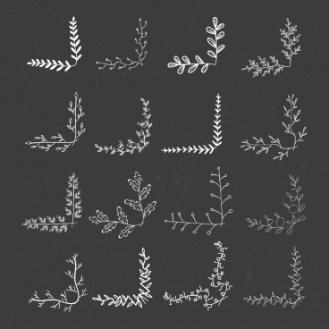 document decorative corners collection leaves icons decor