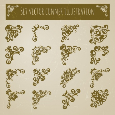 document decorative corners sets various flat symmetric decor