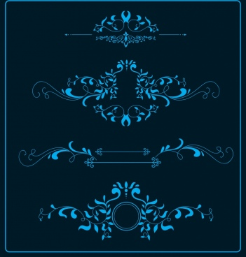 document decorative design elements classical dark blue curves