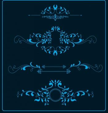 document decorative design elements classical dark blue curves