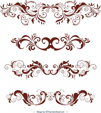 document decorative design elements classical symmetrical swirled decor