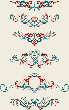 document decorative design elements red blue symmetric curves
