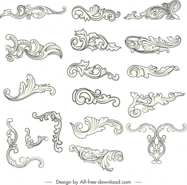 document decorative elements black white elegant curved sketch
