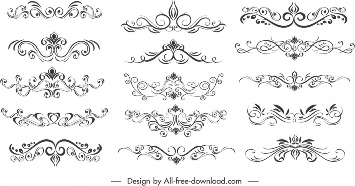 document decorative elements black white symmetric swirled sketch