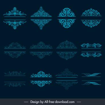 document decorative elements blue classical symmetric seamless curves