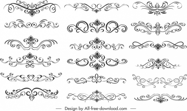 document decorative elements collection classical elegant symmetric curves