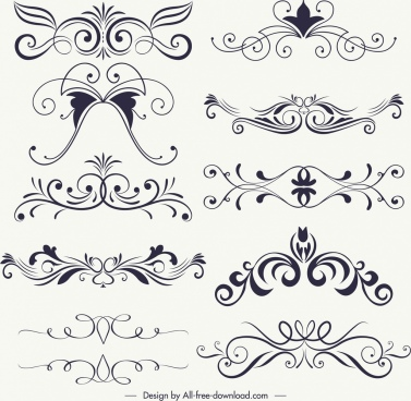 document decorative elements collection classical symmetric curves
