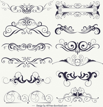 document decorative elements collection classical symmetrical swirled decor