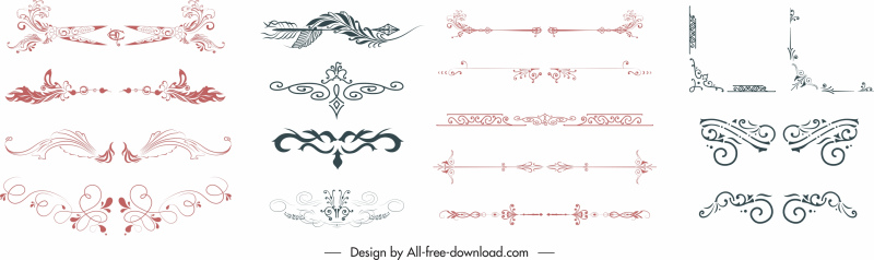 document decorative elements collection elegant classic symmetry shapes