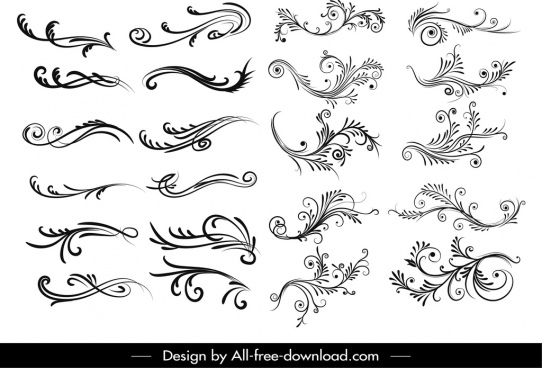 document decorative elements collection elegant curved shapes