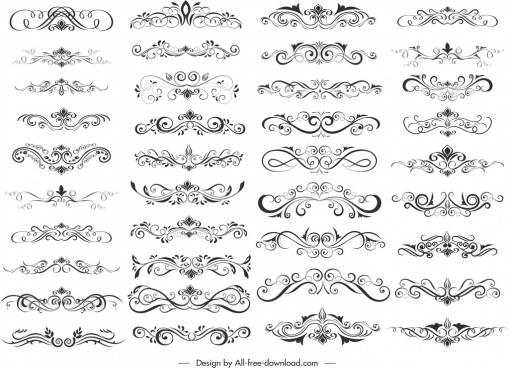 document decorative elements collection elegant symmetric curves sketch