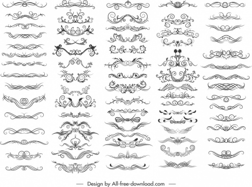document decorative elements collection elegant symmetrical swirled design