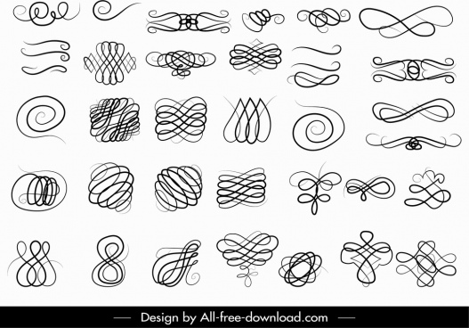 document decorative elements collection seamless curves sketch