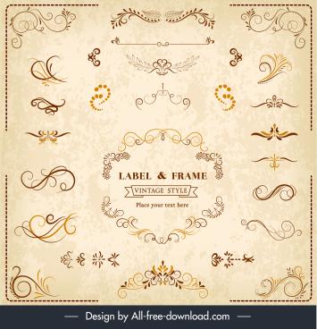 document decorative elements elegant classical symmetric curves shapes