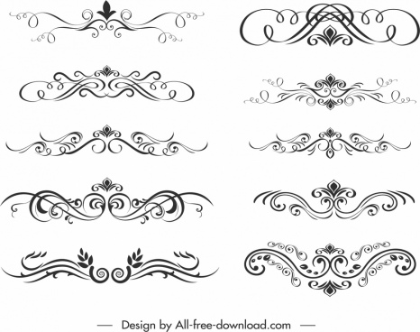 document decorative elements elegant classical symmetric swirl sketch