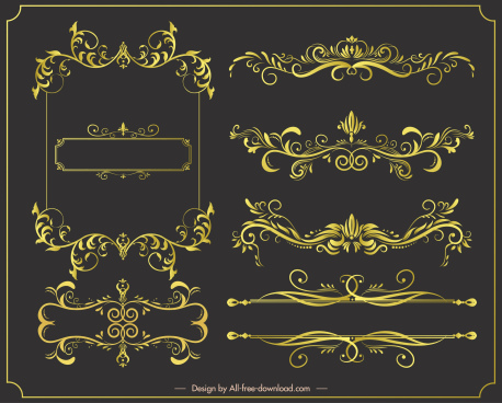 document decorative elements elegant golden symetric seamless curves