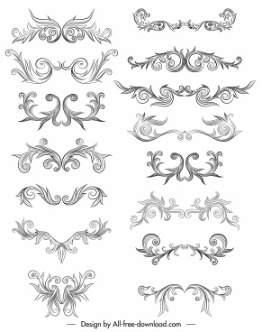 document decorative elements elegant symmetric curves decor